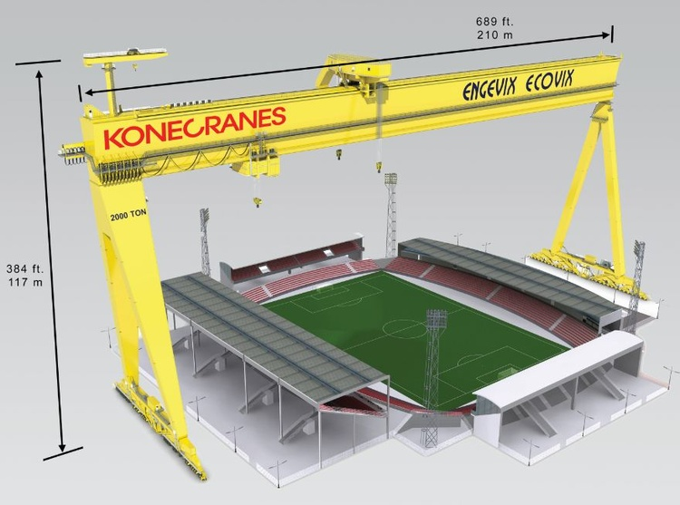 Konecranes Goliath Gantry Crane is larger than a football stadium